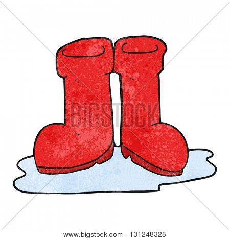 freehand textured cartoon wellington boots in puddle