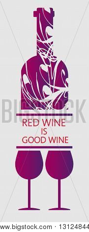 Love red wine and tasting card bottle with two glasses over white background. Digital vector image.