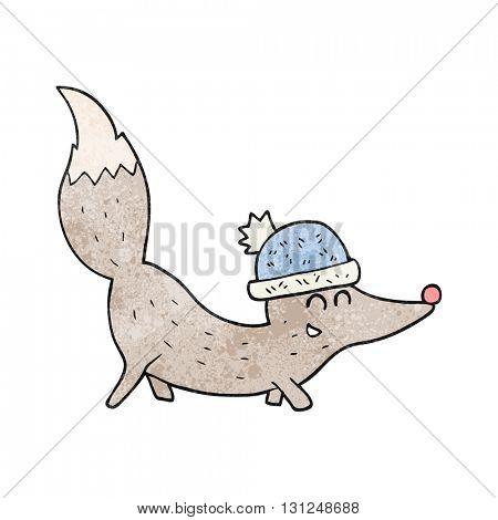 freehand textured cartoon little wolf