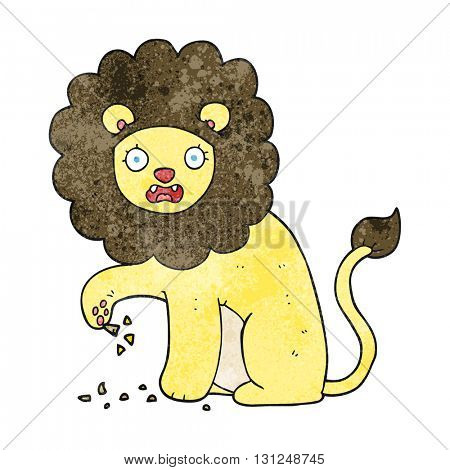 freehand textured cartoon lion with thorn in foot