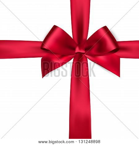 Shiny red satin ribbon on white background. red bow. Red bow and red ribbon