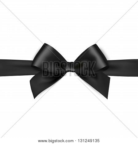 Shiny black satin ribbon on white background. black bow. Black bow and black ribbon