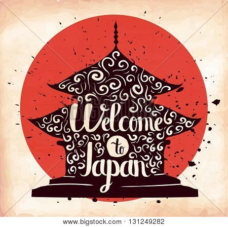 Colorful retro hand lettering is a poster on the theme of travel and adventure abroad. Familiarity with the culture of Japan. Vector illustration