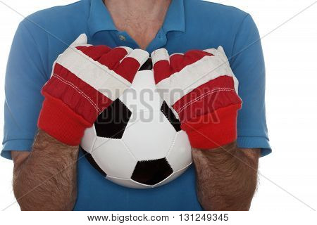 catching and holding a classic soccer ball