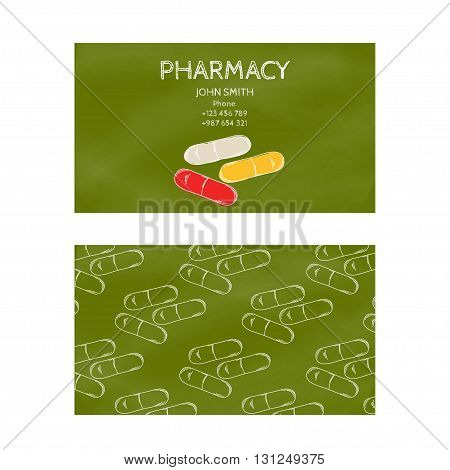 Template professional green business card for printing in the printing industry isolated on white background. Medical laboratory pharmacy and pharmaceuticals. Vector illustration