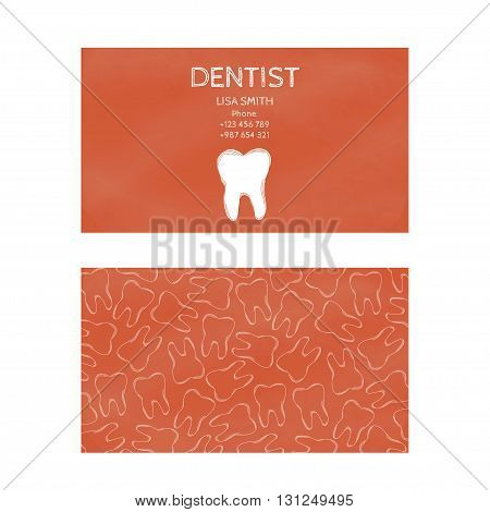 Template professional business cards for printing in the printing industry isolated on white background. Family doctor dentistry prevention and dental treatment. Vector illustration