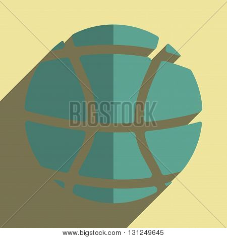 Flat icons with shadow of basketball ball. Vector illustration