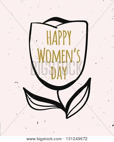 Cute spring Colorful illustration of girls and women in gold color.Card for congratulation with international women's day. Vector illustration