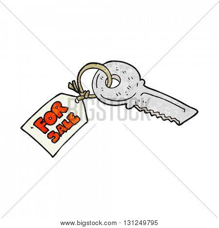 freehand textured cartoon house key with for sale tag