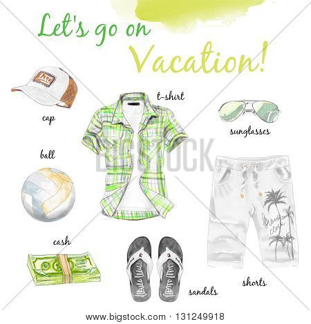 Summer green outfit image man clothes set and accessories