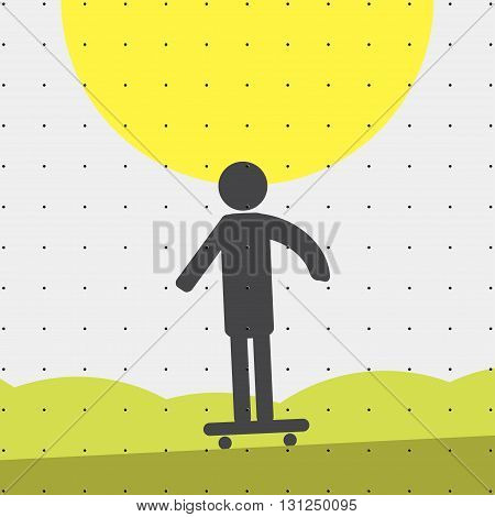 Colorful sports poster-style minimalism flat for commercial websites. Athlete on skate. Vector illustration