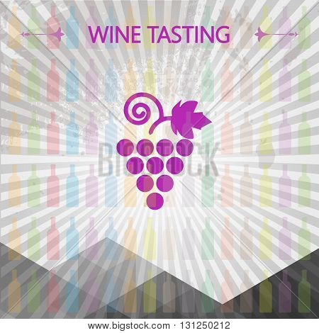 Wine tasting card big grape sign over colored bottles background with lines. Digital vector image.
