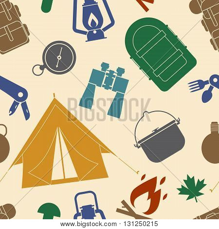 Camping And Hiking Seamless Pattern