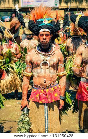 Man With White Colour On Body In Papua New Guinea