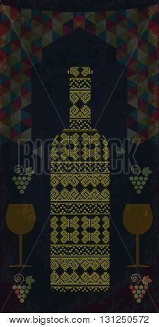 White wine and tasting card bottle with two glasses over water dark background with colored pattern and grape sign. Digital vector image.