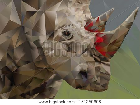 Conceptualized polygon art illustration of endangered white rhino depicting the plight of the poached creature due to it's horns being used as medicine by humans