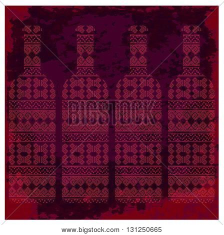 Wine tasting card four bottles of red wine with pattern over dark background with water color. Digital vector image.