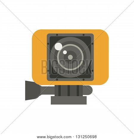 Action Camera In Yellow Case Vector Illustration