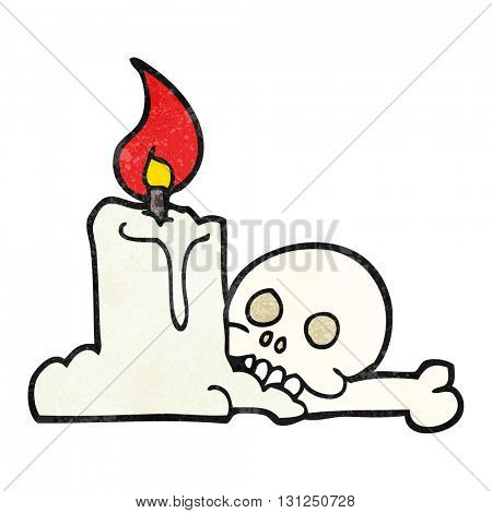 freehand textured cartoon spooky skull and candle