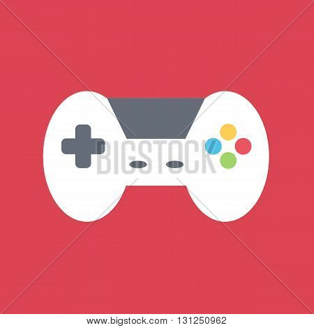 Flat design vector gamepad on red background.