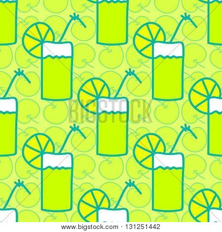 Seamless summer background. Hand drawn pattern. Suitable for fabric, greeting card, advertisement, wrapping. Bright colorful apple cocktail with slice of acid lemon or lime. Seamless summer pattern