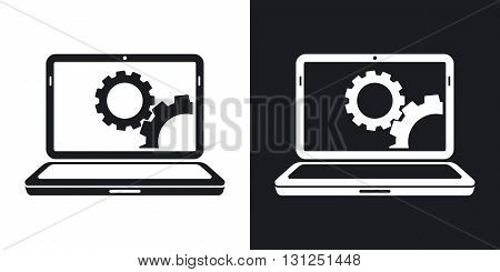 Vector laptop settings icon. Two-tone version on black and white background