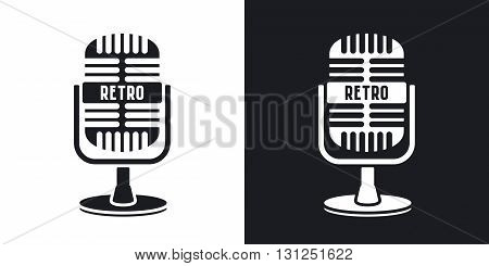 Vector retro microphone icon. Two-tone version on black and white background