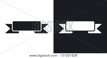 Vector ribbon banner icon. Two-tone version on black and white background