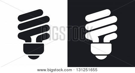 Vector saving light bulb icon. Two-tone version on black and white background