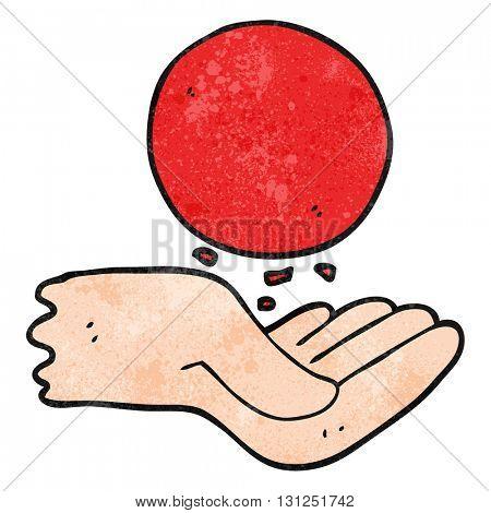 freehand textured cartoon hand throwing ball