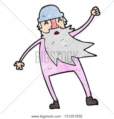 freehand textured cartoon old man in thermal underwear