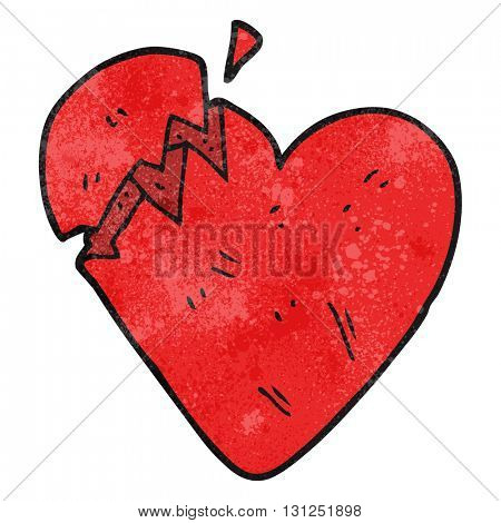 freehand textured cartoon broken heart