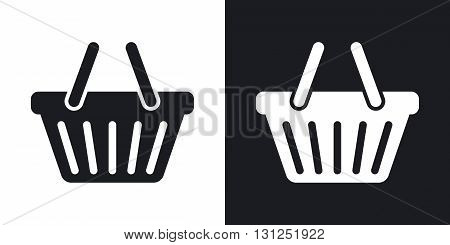 Vector shopping basket icon. Two-tone version on black and white background
