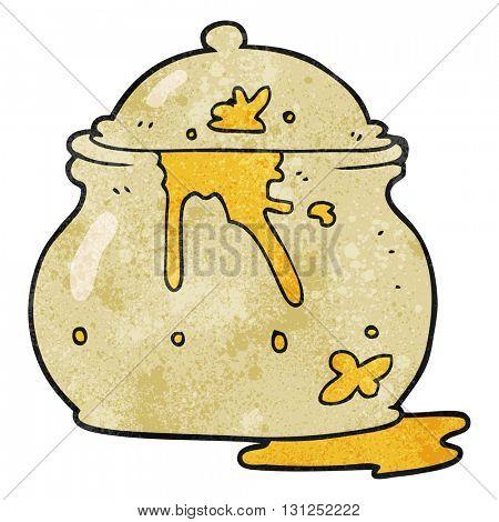 freehand textured cartoon messy mustard pot