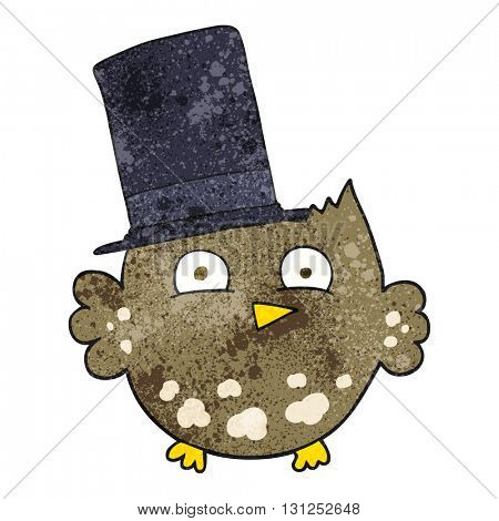 freehand textured cartoon little owl with top hat