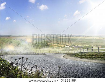 Road turn sunny morning vilage background blue sky