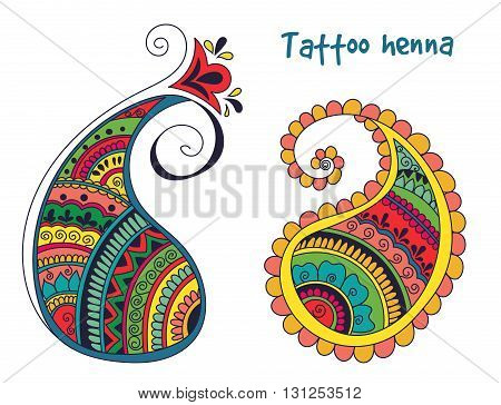 Vector abstract pattern of tattoo henna paisley. Stock mehndi illustration for design on white background - indian cucumbers.