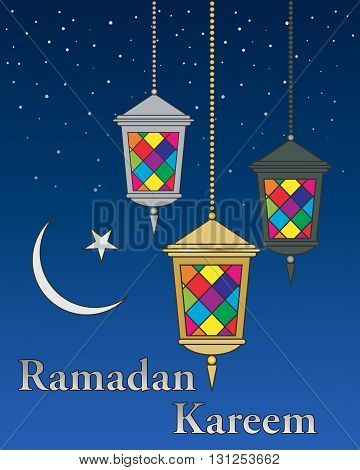 an illustration of three colorful ramadan lanterns with islamic moon and a starry night background
