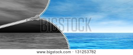 3D illustration of concept or conceptual abstract zipper, dramatic dark cloudy sky and sea to sunny summer blue sky with clouds background banner