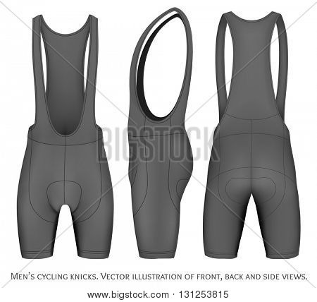 Men's cycling knicks. Front, back and side views. Fully editable handmade mesh. Vector illustration.