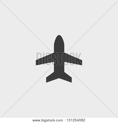 Plane icon in a flat design in black color. Vector illustration eps10