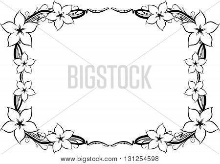 Unusual, decorative lace ornament, vintage frame with flowers and empty place for your text.