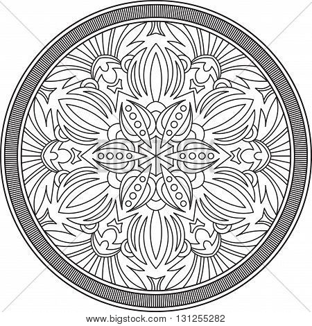 Abstract vector black round lace design in mono line style - mandala ethnic decorative element.