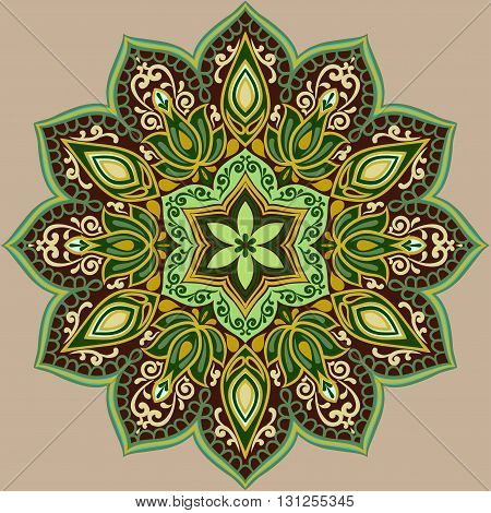 Flower Mandala in green and brown colors. Vintage decorative elements. Oriental pattern. Islam, Arabic, pakistan, chinese, ottoman, Indian, turkish motifs