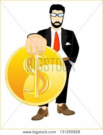 Golden coin in hand of the person on white background is insulated