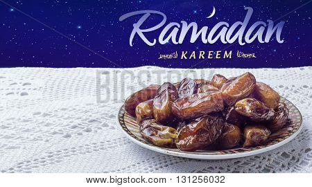 Moroccan date, Ramadan kareem food, night moon