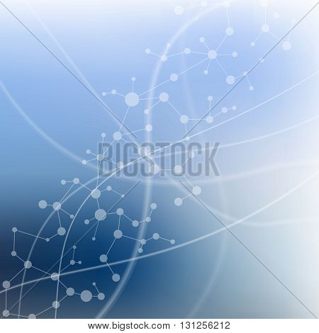 Structure molecule and communication Dna, atom, neurons. Science concept for your design. Connected lines with dots. Medical, technology, chemistry, science background. Vector illustration.