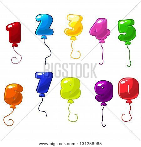 Funny cartoon and colorful balloons number vector balloons icons on white background