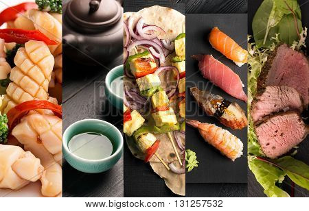 Collage of photos of different asian food and drink (dark background)