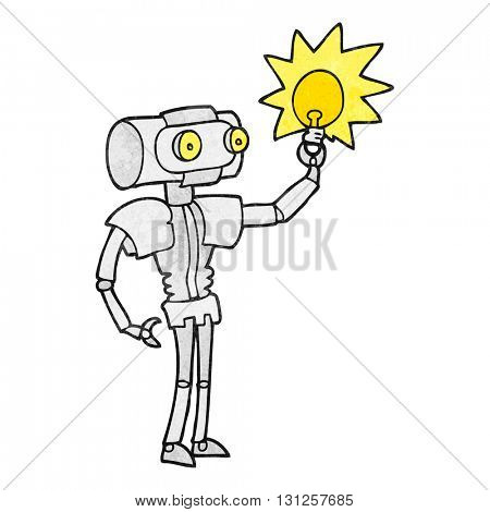 freehand textured cartoon robot with light bulb